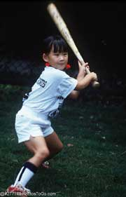Girl with baseball bat; Size=180 pixels wide